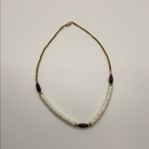 Vintage shell tigers eye choker necklace